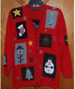 Ugly Christmas Sweater Ladies Petite Medium Cardigan Beaded Holiday Embe... - $21.00