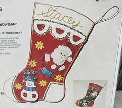 Bucilla Santa Snowman Christmas Embroidery Beaded Felt Stocking Kit #1869* - $24.00