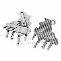 Piano Charms - 21mm Antiqued Silver Plated Pendants C4048 - 10, 20 Or 50PCs - $12.00+