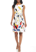 Anne Klein Optic White Tomato Combo Print Fit Flare Dress Size 14 NEW $119 - $39.60