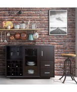 Espresso Brown Dry Bar Storage Holds 16 Bottles Wine Rack Liquor Cabinet... - $384.02