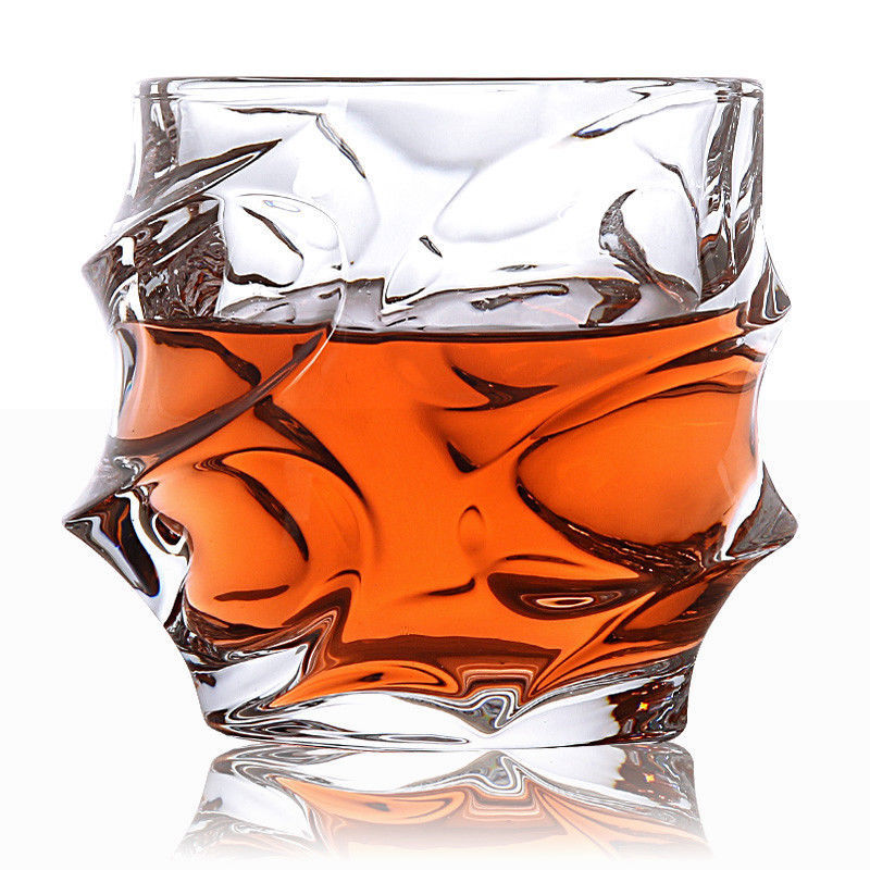 2pcs Spin Wave Whisky Glass Whiskey Tumbler Rum Scotch Spirit Liquor Faceted