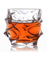 2pcs Spin Wave Whisky Glass Whiskey Tumbler Rum Scotch Spirit Liquor Fac... - £23.63 GBP