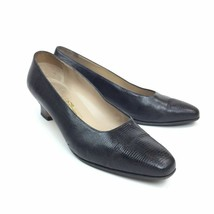 Salvatore Ferragamo Womens 9.5 Shoes Solid Black Textured Scaled Heeled - $34.65