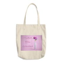 Cotton Tote Bag - I love you Grandma flower - $27.32 CAD