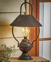 LED Solar Powered RUSTIC TABLE LAMP LANTERN Outdoor Yard Garden Lighting... - $23.78