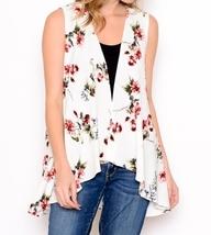Ivory Floral Vest, Lightweight Layering Vest, Floral Layering Vest, Floral Vest image 3