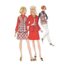 Vtg 60s Simplicity 7794 Misses A-Line Mini Skirt V-Neck Jacket Vest 10 3... - $6.95