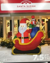 Airblown Inflatable Santa Sleigh With Gifts Scene 7.5ft Tall By Gemmy In... - $83.29