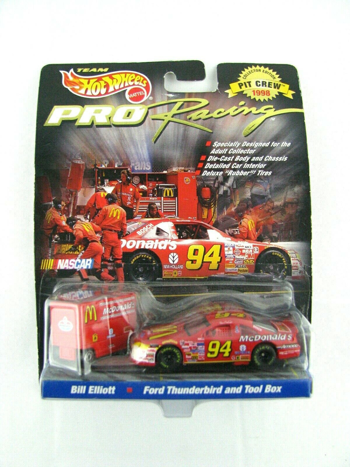 Primary image for NEW Hot wheels Pro Racing Pit Crew 1998 #94 Bill Elliott Ford Taurus & Tool Box