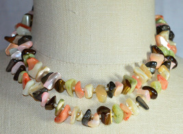 VTG JAPAN Multi Strand Pastel Abalone Mother of Pearl Shell Bead Choker Necklace - $29.70