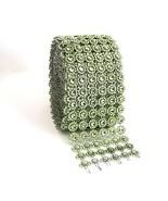 Green Diamond Flower Bling Mesh Rhinestone Decoration Ribbon Wrap 6 Row,... - $14.80+