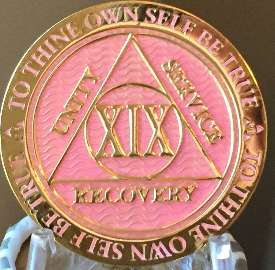 23 Year AA Medallion Pink Gold Plated Alcoholics Anonymous Sobriety Chip Coin