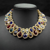 Vintage Beaded Collar Gold Big Double Crystal Bead pendants Lace - $44.99