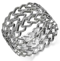 INC International Concepts SilverTone Crystal Pave Heart Wide Stretch Bracelet - $18.91