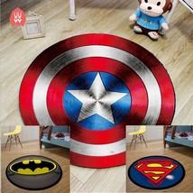 Round Carpet Batman Superman Printed Soft Carpets Anti-slip Rugs Superhe... - $11.99+