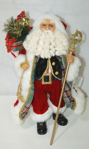Roman Incorperated Detailed Santa Figurine Holding Filigree Gold Staff