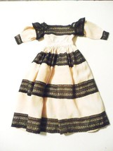 16Vintage Southern Doll Dress Black Lace Trim Puffed Sleeves HAND-SEWN - $33.66