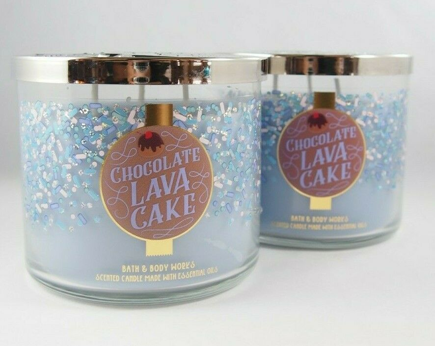Primary image for (2) Bath & Body Works Chocolate Lava Cake Blue Scented Candle 3-wick 14.5oz New