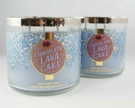 (2) Bath & Body Works Chocolate Lava Cake Blue Scented Candle 3-wick 14.... - $37.98