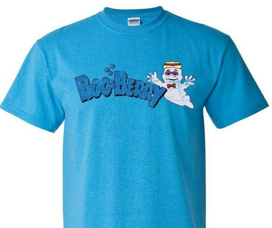 Boo Berry T-shirt retro cotton 80s tee monster cereal Frankenberry Chocula Blue