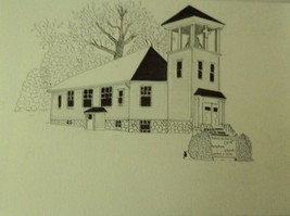 Morning Dale Chapel Ink Drawing - $50.00