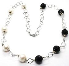 Collar Plata 925 , Ónix Negro Facetado, Perlas, 62cm, Cadena Rombos - $127.47