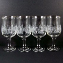 4 Arbys Christmas Winter White Frosted Trees Glasses 12oz Tulip Goblet W... - $34.99