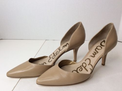 deeb6961a Sam Edelman Telsa DOrsay Pumps Stiletto Heels Pointed Toe Nude Leather SZ 6