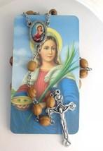 CATHOLIC ROSARY NECKLACE Olive Wood Saints Beads With Jerusalem With Sai... - $14.00