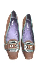 PRADA Brown Suede Silver Tone Buckle Teal Snake Accent Low Heel Pumps Sz... - $116.10