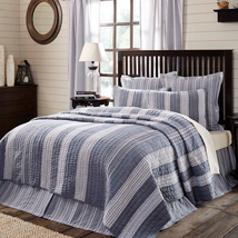 3-pc Queen - CAPE COD Quilt and Shams Set - Blue, Creme -VHC Brands- NEW PATTERN