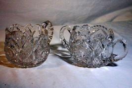 EAPG Hobnail And Diamond Creamer And Sugar Set Saw Tooth Rim - $11.77
