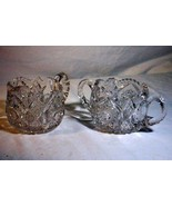 EAPG Hobnail And Diamond Creamer And Sugar Set Saw Tooth Rim - $10.70