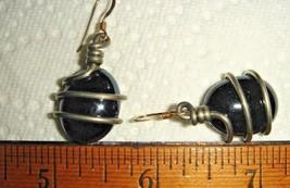 VTG GERMAN STERLING SILVER BLUE GLASS BLACK LUCITE SWIRL CAGED ART EARRI... - $214.19