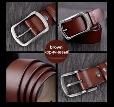 COWATHER cowhide genuine leather belts for men brand Strap male pin buckle vinta image 10