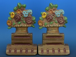 Vintage Albany Foundry Cast Iron Bookend Matched Doorstop Flower Urn Pair
