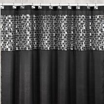 Popular Bath Mosaic Stone Black 70 x 72 Fabric Bathroom Shower Curtain w... - $30.09