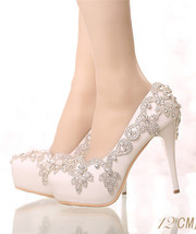 Women Ivory White Swarovski Crystals Wedding Shoes,Bridal High Heels Sho... - $88.00