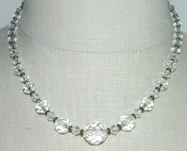 VTG Dual Tone Faceted Clear Cut Crystal Beaded Art Deco Choker Necklace B - $49.50