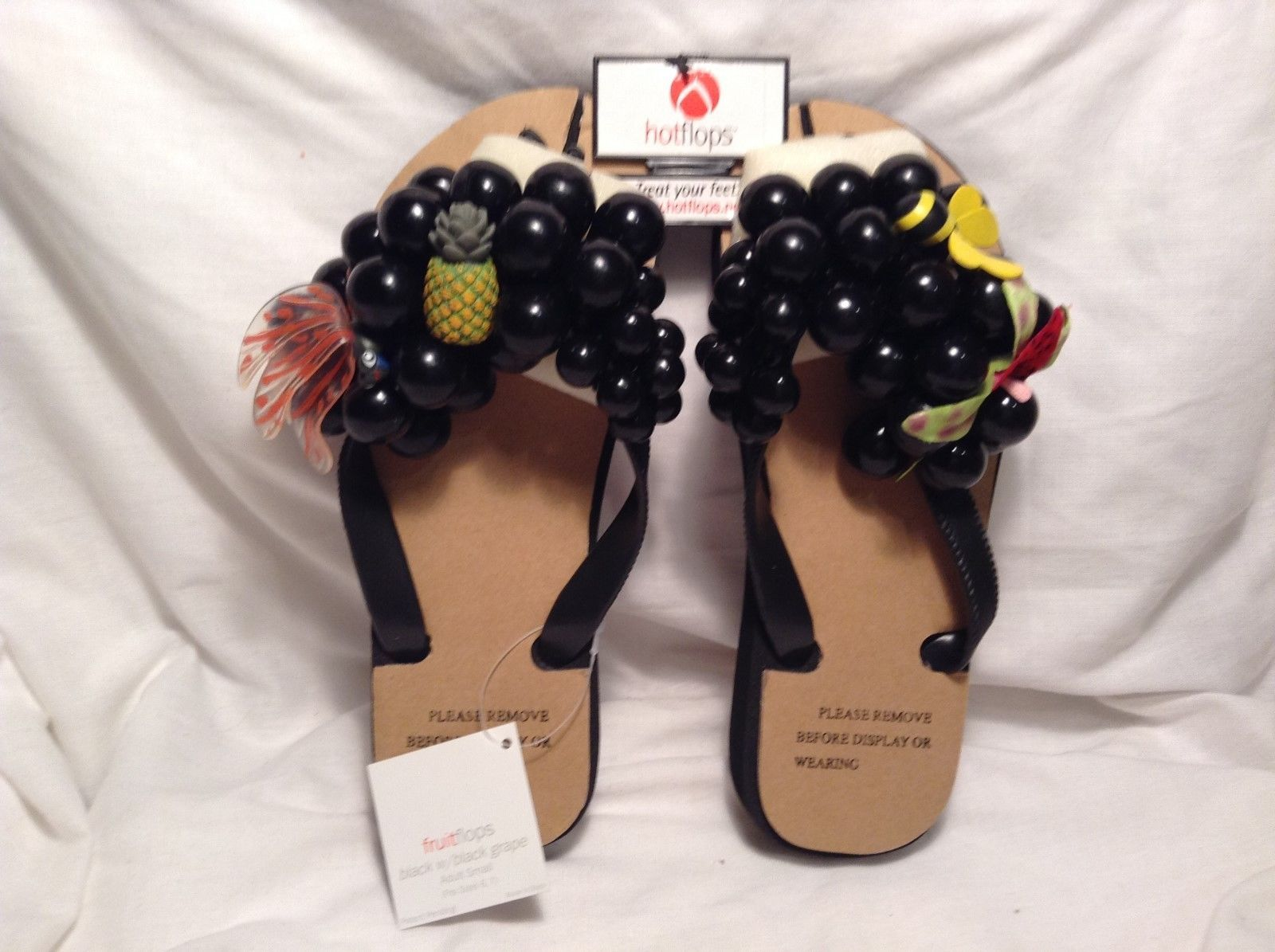 NEW Hot Flops Black Tropical-themed Flip Flops Sz Adult S 6-7