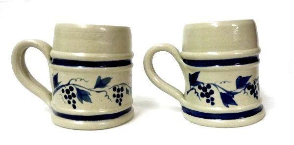 Williamsburg Pottery Mugs Hand Turned 2 Coffee Cups Blue Grape Vine Virginia - $29.07