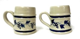 Williamsburg Pottery Mugs Hand Turned 2 Coffee Cups Blue Grape Vine Virginia - $29.37