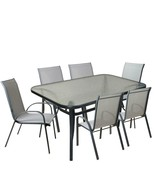 Northlight 7-Pc. Gray Black Outdoor Textilene Mesh and Steel Patio Dinin... - $597.70