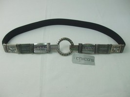 Chico's Women's Size L Belt Black Leather w Stretch Antique Silver Metal... - $29.65