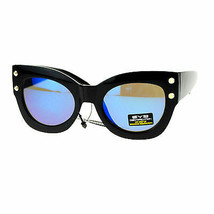 Womens Studded Thick Cateye Butterfly Frame Black Sunglasses Mirror Lens - £7.69 GBP