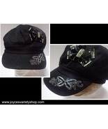 SHYC FASHION Yacht Cap Hat Black NEW Adult SZ Butterfly & Bow Accent - $9.00