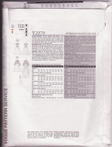 Vogue 2979, Wedding Dress, Pattern 2979, Size 12-14-16, Lined Dresses, Bodice
