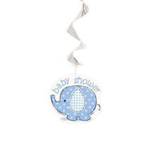 Umbrella Elephant Blue Boy Baby Shower 3 Ct Hanging Swirl Decoration - $2.99