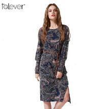 Talever Women Dress Casual Long Puff Sleeve O-Neck Plus Size Dresses Ladies Spri image 2